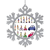 C COABALLA People on City Transport. Scooter Hoverboard,Cute 2020 Home Décor Hanging Snowflake Decorations Ornament and Roller Skates.Town Vehicle Transport car- USA 5PCS