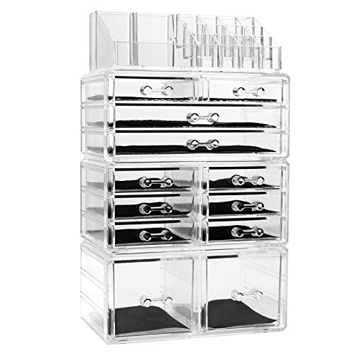 FOBUY Durchsichtiger Acryl-Make-Up-Organiser Aufbewahrungsständer, für Kosmetik-Sets oder Schmuck (12 Drawers)