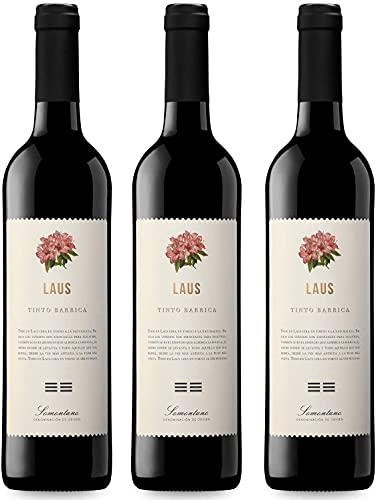 LAUS Barrica, Vino Tinto Barrica - Añada 2018 - D.O. Somontano - Paquete de 3 botellas, 75cl - Aromas Propios de Barricas Mixtas - Elaborado con Cabernet Sauvignon y Merlot
