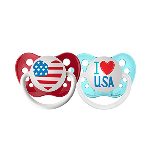 Ulubulu Holiday Pacifier, Fourth of July American Heart and I Love USA, 6-18 Months
