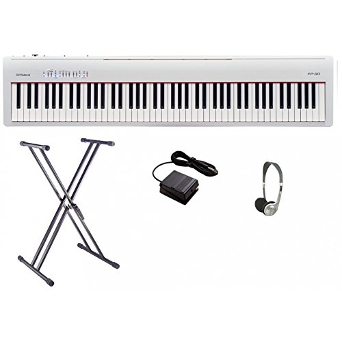 Roland FP30 - Juego de piano digital, color blanco con marco doble X y auriculares
