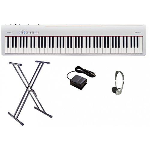 Roland FP30 Digitale Piano Bundel | Wit met Dubbele X Frame & Koptelefoon