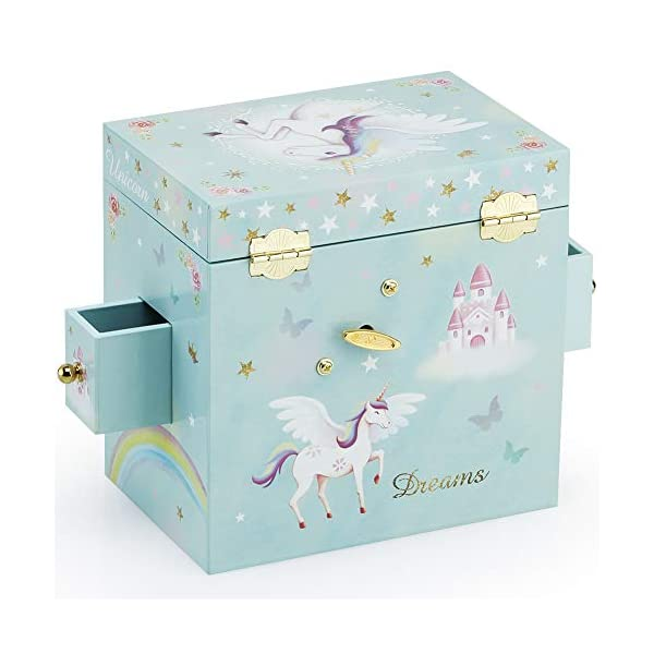 RR ROUND RICH DESIGN Kids Musical Jewelry Box for Girls with 3 Drawers and Jewelry Set with Magical Unicorn - Blue… 7
