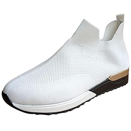 OHQ Zapatillas De Deporte para Mujer Transpirables Malla Sin Cordones Calzado Deportivo Antideslizante Zapatilla para Correr CóModo Y Elegante (Blanco, Numeric_39)