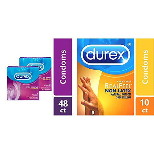 Extra Sensitive & Extra Lubricated, Durex Condoms, 48 Count, Ultra Fine, Natural Latex Condoms and Non-Latex Durex Avanti Bare RealFeel Condom, 10 ct