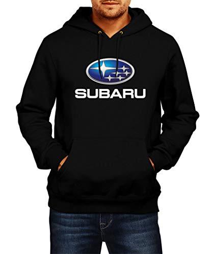 Sweats à Capuche Subaru Logo Hoodie Homme Men Car Auto Tee Black Grey Noir Gris Long Sleeves Manches Longues Present Christmas (S, Black)