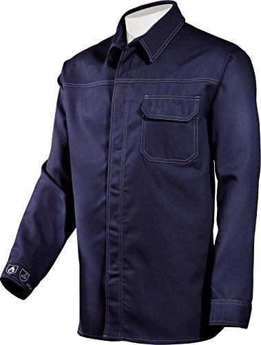 Hugh Banner Schweißerhemd Schweisserhemd Flammenhemd Arbeitshemd blau oder grau (45/46, Blau)