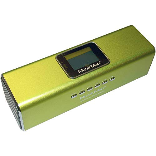 MusicMan MA Soundstation/Stereo Lautsprecher mit integriertem Akku und LCD Display (MP3 Player, Radio, Micro-SD Kartenslot, USB Steckplatz) grün