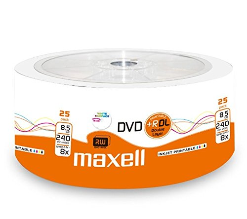 Maxell 276078 DVD+R 8.5GB DL Double Layer, 8X Speed, 8,5Gb, 25er Shrink, bedruckbar