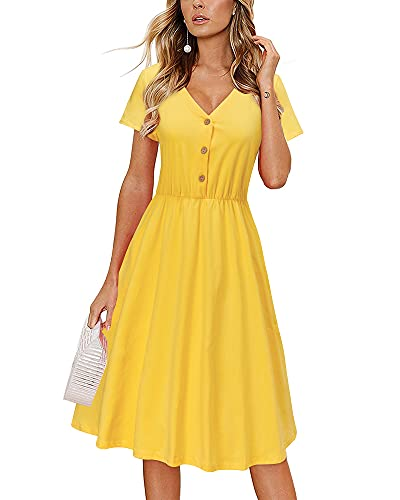 Women's V-Neck Button Down Dress With Pockets