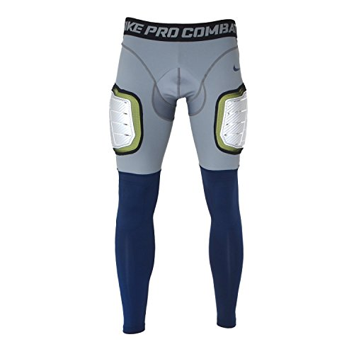 Nike Men's Pro Combat Hyperstrong Hard Plate 3/4 Length Football Skill Pants/Padded Recovery Tights 634669-062 (2X-Large) Grey/Royal