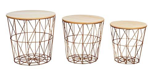 levandeo 3er Set Beistelltisch Metall Metallkorb Drahtkorb Kupfer Couchtisch Deckel Aufbewahrung Design Deko Tisch