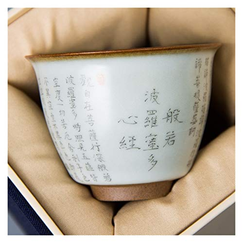 YANGYUAN Buddhist Heart Sutra Teacup, Retro Traditional Ceramic Cups, Chinese Tea Cup, Hand-drawn Ceramic Drinkware Handcrafted Gift, No Handles
