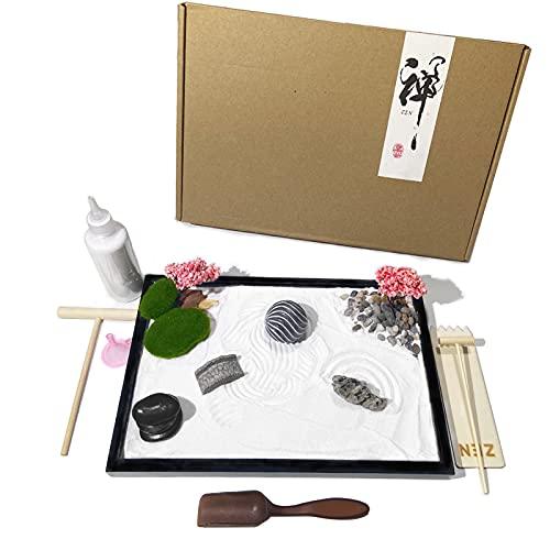 Aovoa Zen Garden for Desk, Japanese Zen Garden Kit with Sand Stamp Sphere and Essential Accessories, Mini Zen Sandbox Office Decor Kit for Relaxation, Meditation Gift