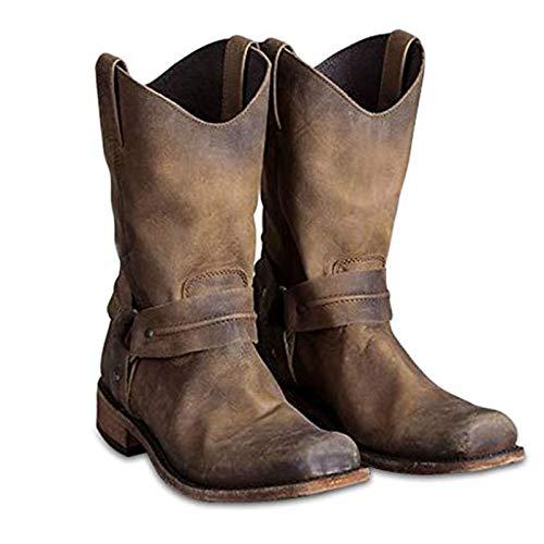 OLDSAN Western-Cowboy-Stiefel Herren/Frau Martin Stiefel Retro Knight Boots Hohe Hilfe Land-Art-Arbeitsstiefel Passend für Frühling Herbst Wandern Trekking-Jagd Retro brown-45