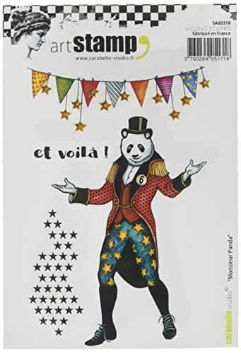 Carabelle Studio Postzegels Cling, Monsieur Panda, voor afdrukken op papier, kaarten maken en Scrapbooking, Multi-Colour