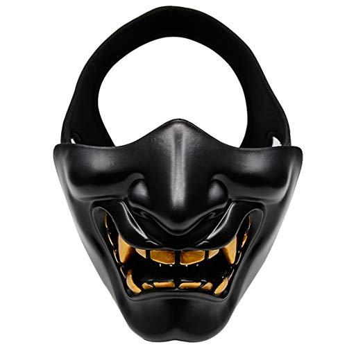 XDLH Halloween Lachen Prajnä Tactical Maske, COS Teufel Horror Grimasse Halbe Gesichtsmaske Für Männer Und Frauen Erwachsene, Abendkleid-Partei Geeignet Für Erwachsene Und Kinder,Schwarz