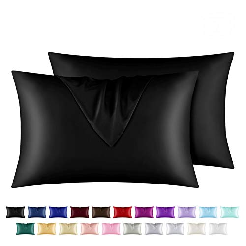 """yourose Satin Pillowcase for Hair and Skin, 2 Pack Standard Size Silky Pillowcases with Envelop Closure, (Black, 20""""X26"""",2pcs)"""