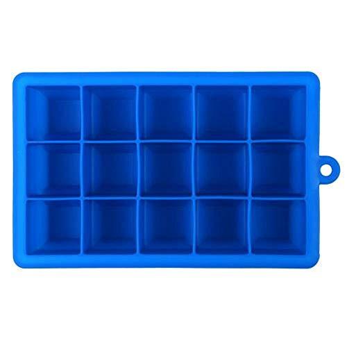 CTOBB 15-Cavity Bricolage 1pc Glaçage Fruit Cube Moule Silicone Ice Kitchen Party Bar Mould Boire Accessoires Iced Maker Cube pour vin Whisky, Mold Blue Ice, Fédération de Russie