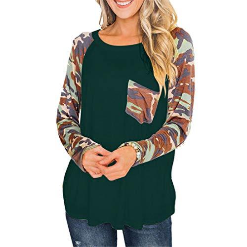DOMBX Damen Camouflage Oberteil Frauen Mode lässige Langarm Rundhals T-Shirt Tunika...