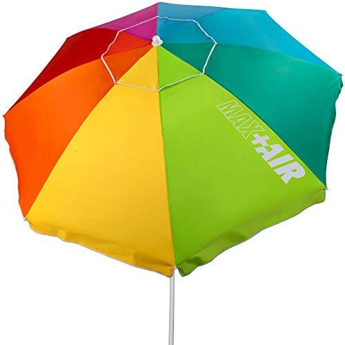 Aktive 62222 - Sombrilla de playa, 220 cm, sombrilla grande, techo de ventilación, mástil 28-32 mm, protección UV 50, Diseño multicolor, Incluye bolsa de almacenamiento, Aktive Beach