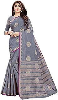 Neerav Exports Kanjivaram Tusser Silk Double Color Peacock Design Saree (Grey)