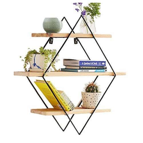 LYN-MEMORY Zwevende planken, 3 dieren driehoek hout drijvende planken decoratieve wandplank met ijzeren plank Display Boekenplank wandrek