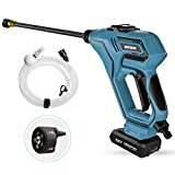 Cordless High Pressure Washer, WESCO 18V 2.0Ah Home/Car Cleaner, Portable Water Gun, 6M Hose, 4 Spray Nozzles with Carry Bag, Extension Lance, Garden/Pet/Outdoor Cleaning Tool/WS8800
