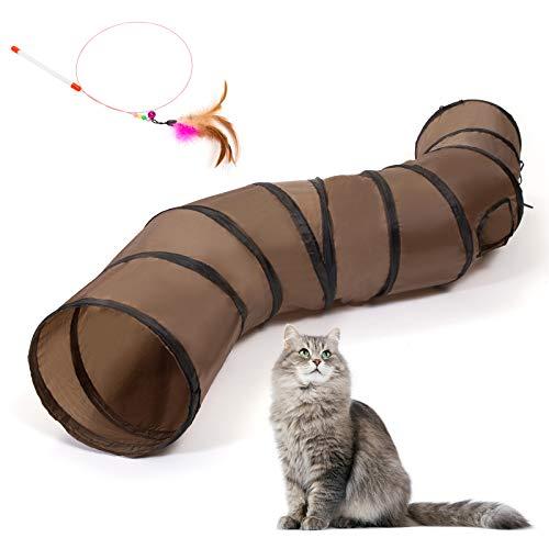 Kesote Katzentunnel Katzenspielzeug Katze Rascheltunnel Faltbar Spieltunnel mit Katzenstab Spielzeug für Kätzchen Welpe Kaninchen Hamster Haustier (123 cm lang, Ø 25 cm)