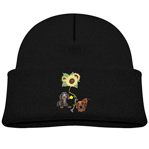 You are My Sunshine Dachshund Baby Beanie Winter Hats Unisex Knit Warm Skull Cap for Toddler Infant Black