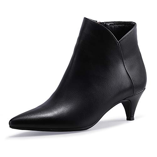 IDIFU Women's Kira Dress V-Cut Low Heel Pointed Toe Ankle Bootie Side Zipper Classic Short Boots(Black Pu, 9.5 M US)