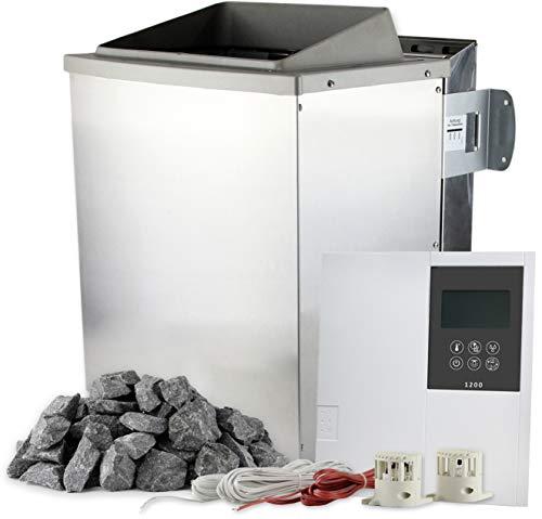 SULENO Bio-Saunaofen KEMI 9,0 kW Edelstahl mit 20 kg Saunasteine