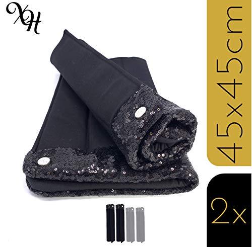 X-traordinary Horsewear - 2er/4er Set Handgefertigte Premium Bandagierunterlagen Black Soul mit Glitzer-Pailletten   Gr. Warmblut WB hinten   Schnelltrocknend   Atmungsaktiv   Elastisch