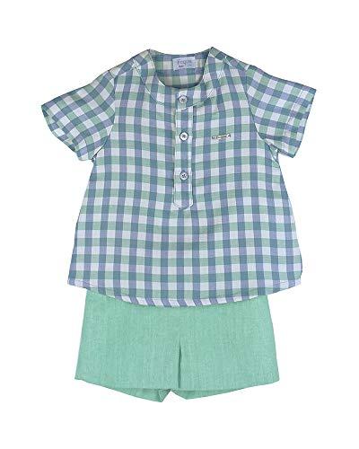 FOQUE - Conjunto de bebé para Verano con Camisa de Cuadros y Bermuda Verde (12 Meses)