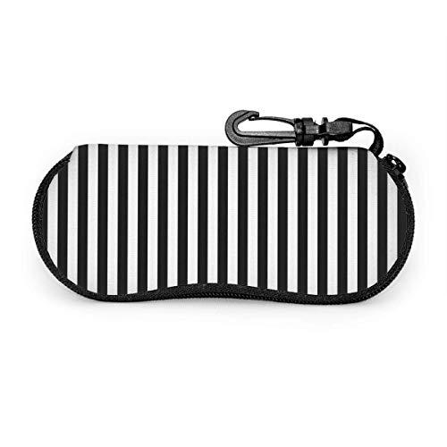 Gafas de sol a rayas en blanco y negro con hebilla de bloqueo Bolsa suave Funda de gafas con cremallera de tela de buceo ultraligera