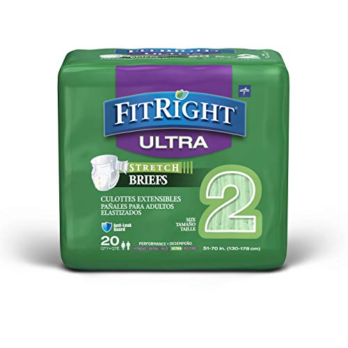 """FitRight Stretch Ultra Adult Briefs, Disposable Incontinence Diapers with Tabs, Heavy Absorbency, LG/XL/2XL 51""""-70"""", (20 Count)"""