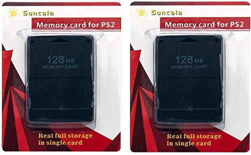 Suncala 2 Pack Memory Card for Playstation 2, 128MB High Speed Memory Card for Sony PS2 ps2 Memory Card