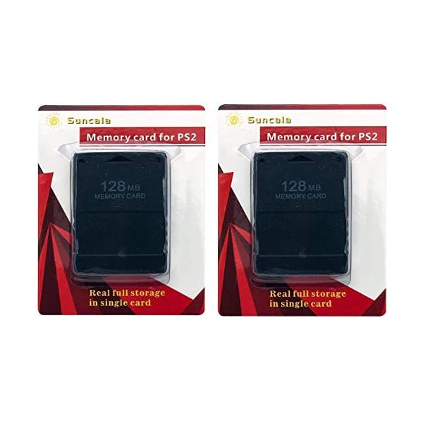 Suncala 2 Pack Memory Card for Playstation 2, 128MB High Speed Memory Card for Sony...