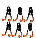 CoolYeah Ganchos dobles de acero para almacenamiento de garaje, resistentes, para organizar herramientas eléctricas, pequeños ganchos en U (paquete de 6, 2 x 2,8 x 10,7 cm)