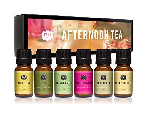 Afternoon Tea Set of 6 Premium Grade Fragrance Oils - Fig, White Tea, Green Tea, Sugar Cookies, Cucumber Melon, and Berries & Cream