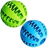 Dog Treat Toy Ball, Dog Tooth Cleaning Toy, Interactive Dog Toys(1 Green+1 Blue)...