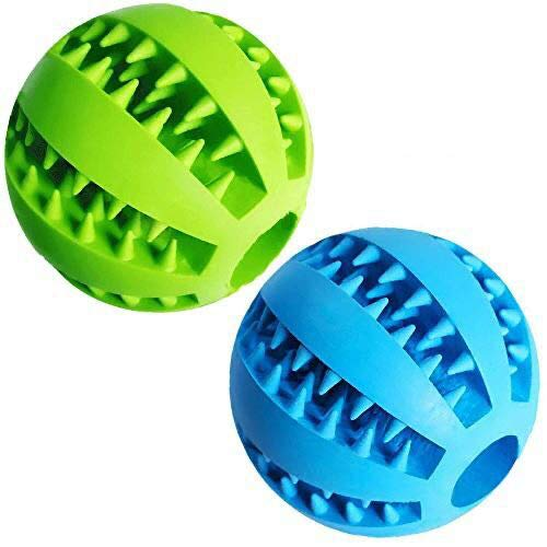 Dog Treat Toy Ball, Dog Tooth Cleaning Toy, Interactive Dog Toys(1 Green+1 Blue) 2.8' Pack of 2