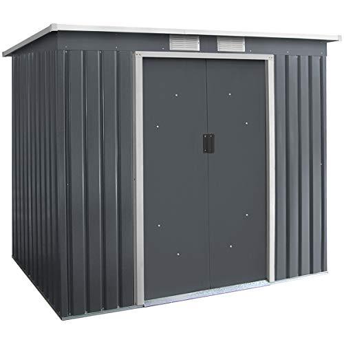 GIANTEX-Caseta de Jardín de Metal, Caseta para Bicicletas, Caseta para Herramientas, Puertas y Ventanas Correderas, 213 x 130 x 173 cm
