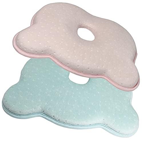 Cuscino per Bebè, Cuscini per Neonati Cuscino per Neonati Simpatico Cuscino per Neonati in Cotone con Orsacchiotto-2 Pezzi (1 Blu, 1 Rosa)