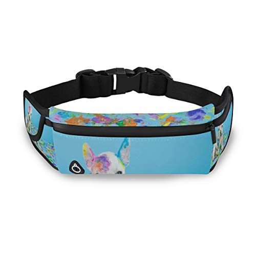 SLHFPX Silly French Bulldog Fanny Packs for Women Men Unisex Waist Bag Pack with Headphone Jack and Zipper Adjustable Strap Fashion Bum Bag for Party, Music Festival, Rave, Hiking, Vacation, Trip