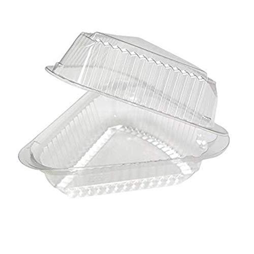 Envase transparente triangular de 100 piezas con base negra Cajas de rebanadas...