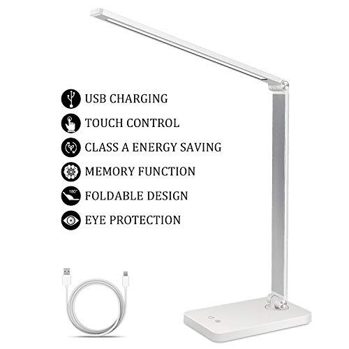 Lámpara Escritorio LED, Zorara Lámparas de Mesa USB Regulable, Lámpara de Oficina para Leer, Estudiar, Relajamiento, Blanco [Clase de eficiencia energética A] (5 Modos, 3 Niveles de Brillo)