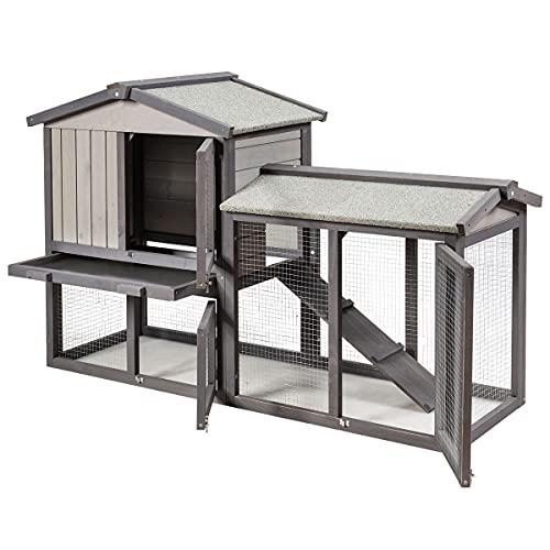 COSTWAY Poulailler Cage à Lapins en Bois 2 Niveaux 3...