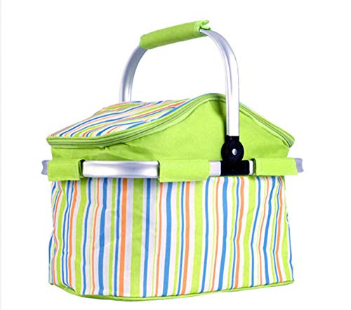 HNHN Cooler Insulated Picknickkorb, 2-4 Person 20L Faltbare Wasserdicht Puncture Resistant Futter zusammenklappbarer Außenkühler Korb für Camping,A