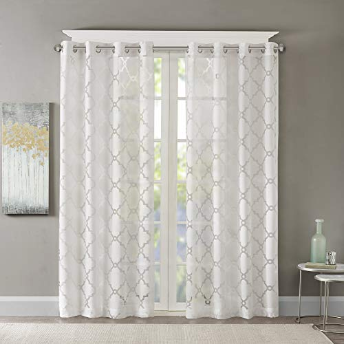 Madison Park Eden Curtains for Bedroom, Modern Contemporary Light Sheers for Living Room, Geometric Pattern with Grommet, 50x95, White
